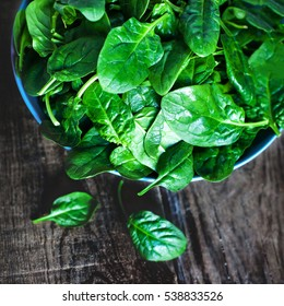 Fresh green spinach in blue bowl on the dark wood background with copy space,  toned image.