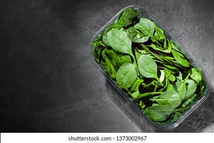 Fresh green Spinach leaves in a plastic package box on Dark grey black slate background with copy space. top view