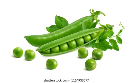 Fresh green split pod and peas isolated on white background. Package design element with clipping path