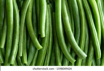 Fresh Green String Bean Pods, Top View Shot