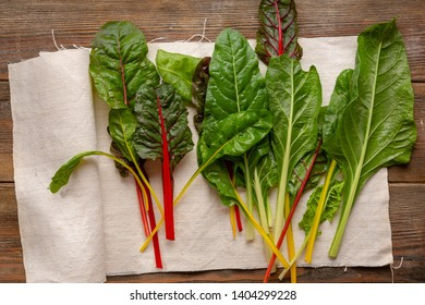 Fresh green swiss chard leaves from above