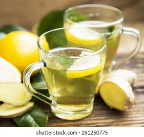 Fresh Green Tea with Lemon in Transparent Cups, Healthy Detox Tea