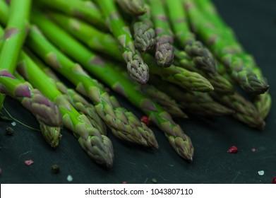Fresh green uncooked asparagus