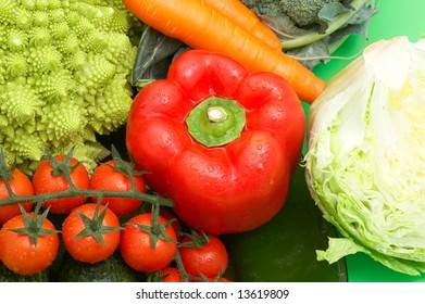 fresh green vegetables as background