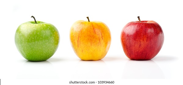Fresh Green, Yellow and Red Apples Isolated on White Background
