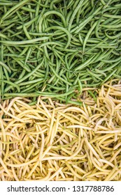 Fresh green and yellow string beans