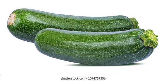 Fresh green zucchin isolated on white background with clipping path