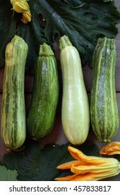fresh green zucchini on wooden background