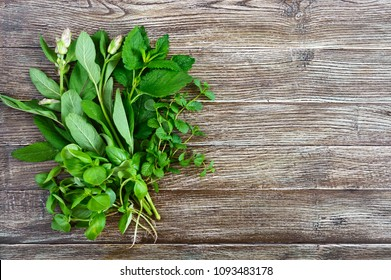 Fresh greens and herbs, harvested from the garden. Herbs for making herbal tea. Bunch useful products on a wooden table (basil, mint, salvia, melissa), free space for your project.