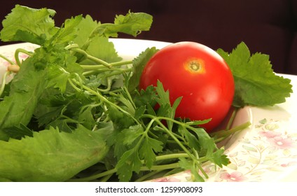 fresh greens and tomato