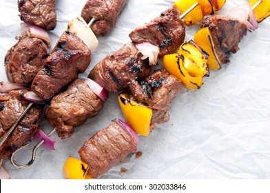fresh grilled beef with vegetable shish kabobs