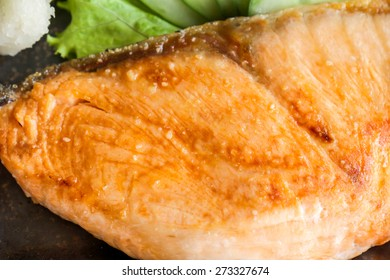 Fresh grilled salmon steak or fillet for a healthy diet