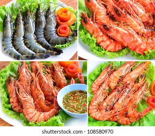 Fresh and grilled of Tiger prawns on a white plate