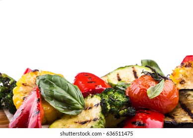 fresh grilled vegetables isolated on white background