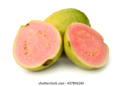 Fresh guava fruit with half isolated on white background