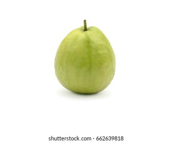 Fresh guava fruit with leaf isolated on white background