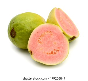 Fresh guava fruit with leaf on white background