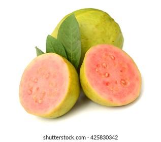 fresh guava fruit on white background