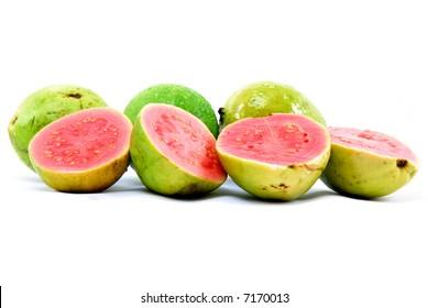 Fresh Guava fruit on white background .