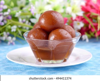 Fresh Gulab Jamun in beautiful crystal bowl