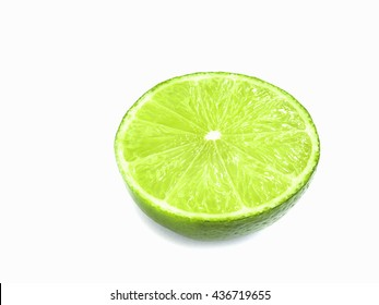 Fresh half cut of Tahiti lemon with water drop isolated over white