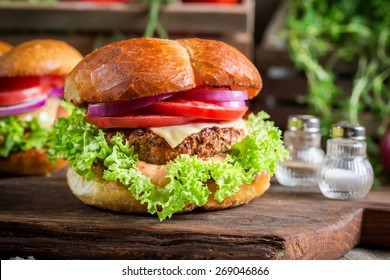 Fresh hamburger with beef and cheese