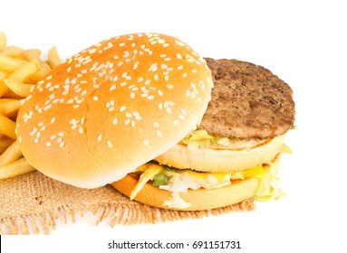 Fresh hamburger isolated on white background. Fast food.