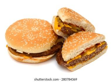 fresh hamburgers on white background
