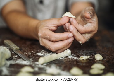 Fresh handmade typical Orecchiette pasta from south of Italy, Puglia region