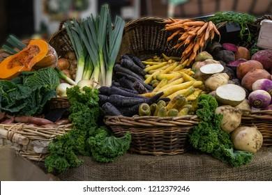 Fresh Harvest Vegetables in London's Borough Market, UK