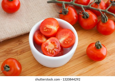 Fresh harvested cherry tomatoes. Natural lighting. Close up.