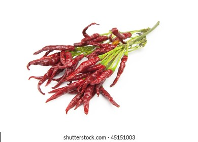 Fresh harvested red pepper dried with stem section, isolated on white