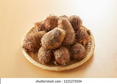 Fresh harvested, Satoimo potatoes.(taro, taro root).