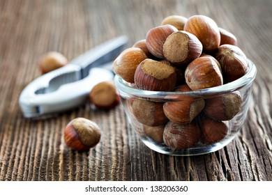 fresh hazelnuts in a bowl