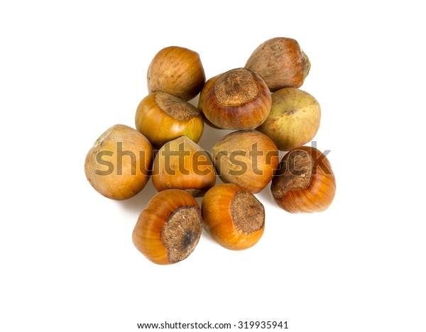 fresh hazelnuts isolated on white