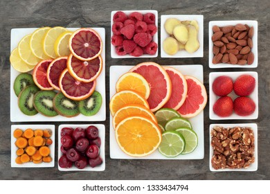 Fresh health food of fruit, nuts, herbs and spice to relieve anxiety and stress that also help relaxation, depression and reduce chronic fatigue. High in omega 3, antioxidants, minerals &  vitamins.