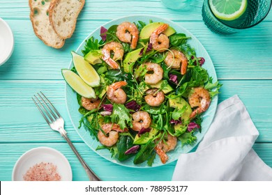 fresh healthy avocado and shrimps salad. Top view