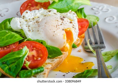 Fresh Healthy Breakfast - poached egg on baguette with salad, tomato and olive oil, very simple and delicious, place for your advertisment