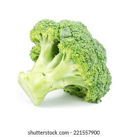 Fresh healthy broccoli on white background