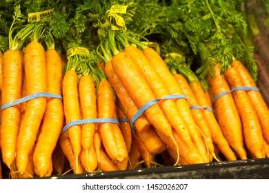 Fresh healthy carrots on display