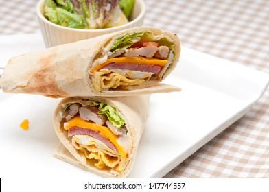fresh and healthy club sandwich pita bread roll