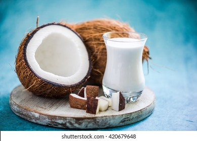 fresh and healthy coconut milk with whole nut and pieces