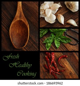 """Fresh Healthy Cooking"" collage includes closeup images of garlic, basil, chili peppers, and a vintage wooden spoon on rustic wood background.  (text easy to remove)"