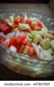Fresh healthy cucumber salad summer side dish