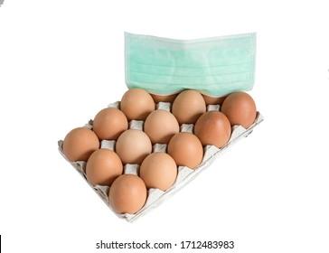 Fresh healthy food eggs under a medical mask. Hygiene Protection Concept for coronavirus Disease 2019 (Covid 19)