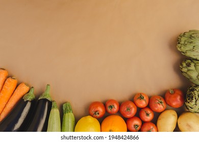 Fresh healthy fruit and vegetable from above with copy space.