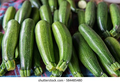 Fresh healthy green zucchini courgettes cucumber on display in the marketplace