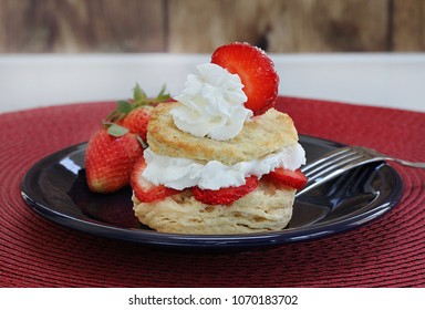 Fresh and healthy homemade strawberry shortcake with whipped cream and fresh berries and garnished with a strawberry slice.  Macro with copy space.