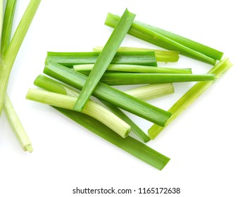 Fresh healthy organic green vegetable garlic chives, chinese chive sliced, green herb isolated on white background.