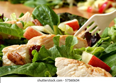 Fresh healthy salad with grilled chicken and apples.  Macro with extremely shallow dof.